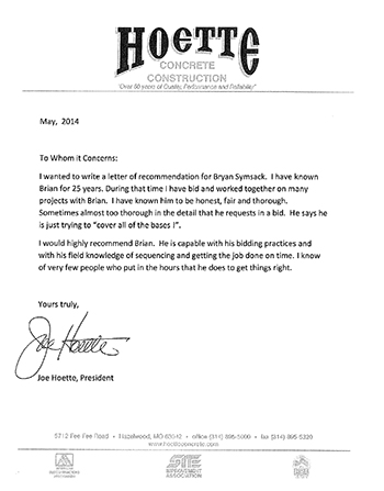 Letter of Recommendation from Hoette Concrete Construction