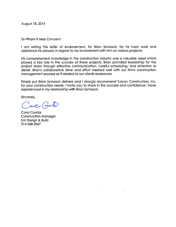 letter of recommendation from carol combs
